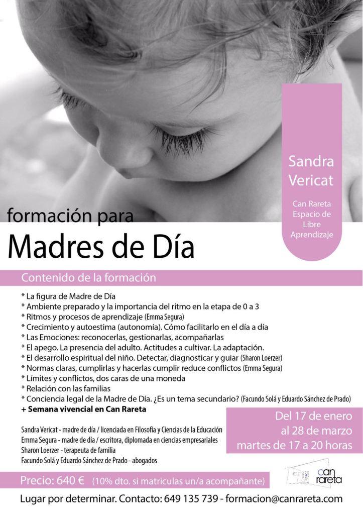 Cartel del curso de formación de Madres de Día